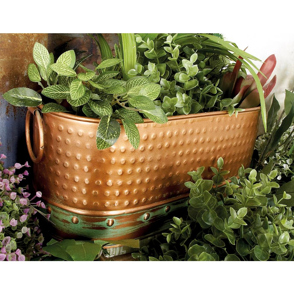 Simple Planters Distressed Brass Iron Oval Bin Planter Set Of 3