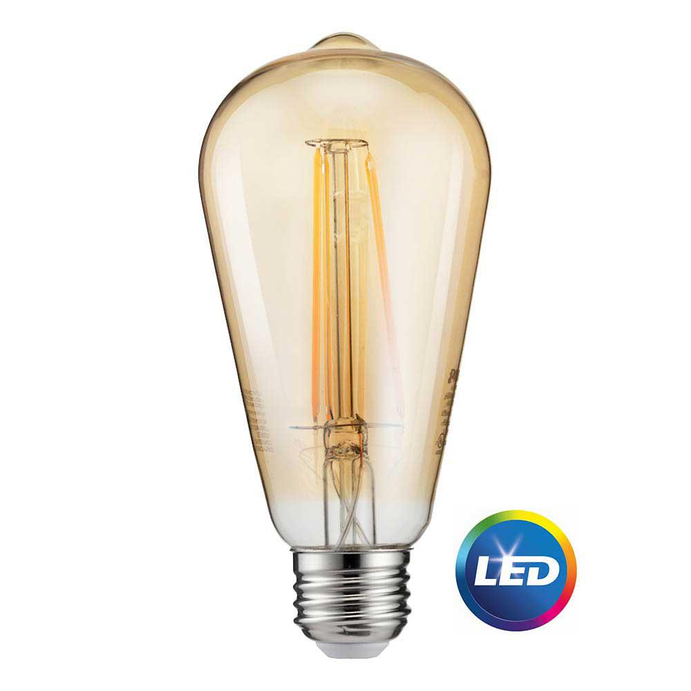 Glass Edison Lamp Philips 40 Watt Equivalent St19 Dimmable Indoor Outdoor Vintage Glass Edison Led Light Bulb Amber Warm White 2200k