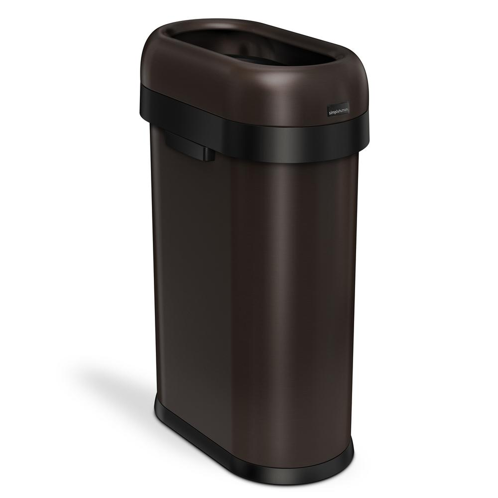 Copper Trash Can With Lid 50 Liter 13 Gal Dark Bronze Heavy Gauge Stainless Steel Slim Open Top Commercial Trash Can