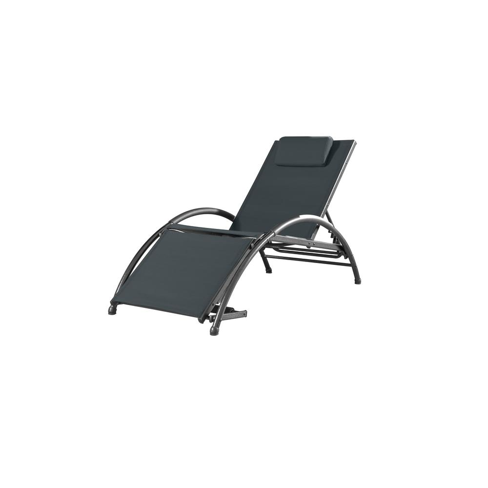 White Sun Lounge Vivere Dockside Black Aluminum Outdoor Reclining Lounge Chair With Black Sling Cushion