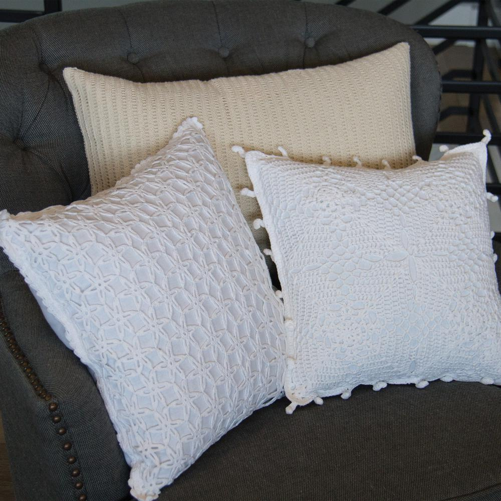 High Quality Sofa Pillows Heritage Lace Crochet Envy White Artisan Artisan Decorative