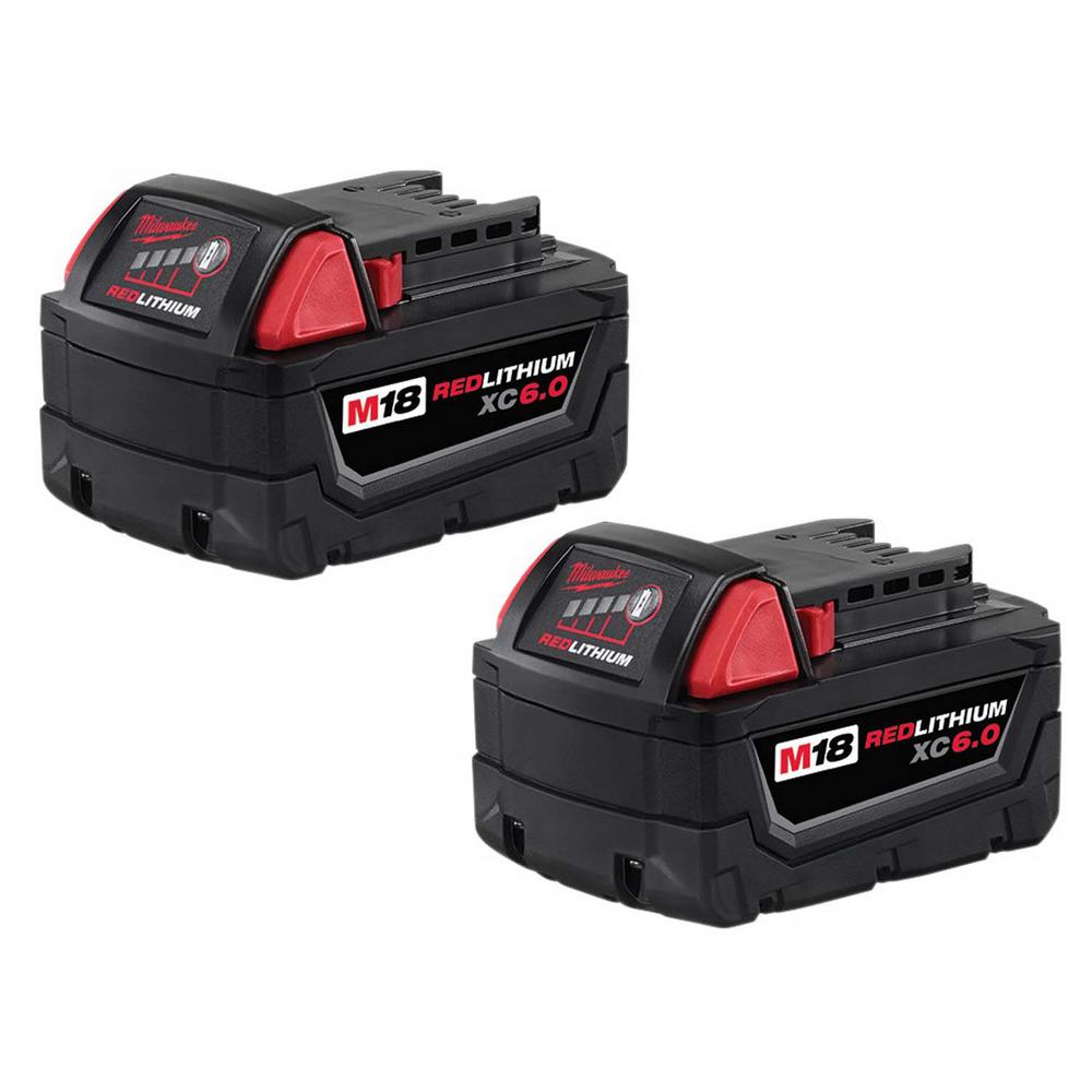 Milwaukee M18 Battery Milwaukee M18 18 Volt Lithium Ion Xc Extended Capacity Battery Pack 6 0ah 2 Pack
