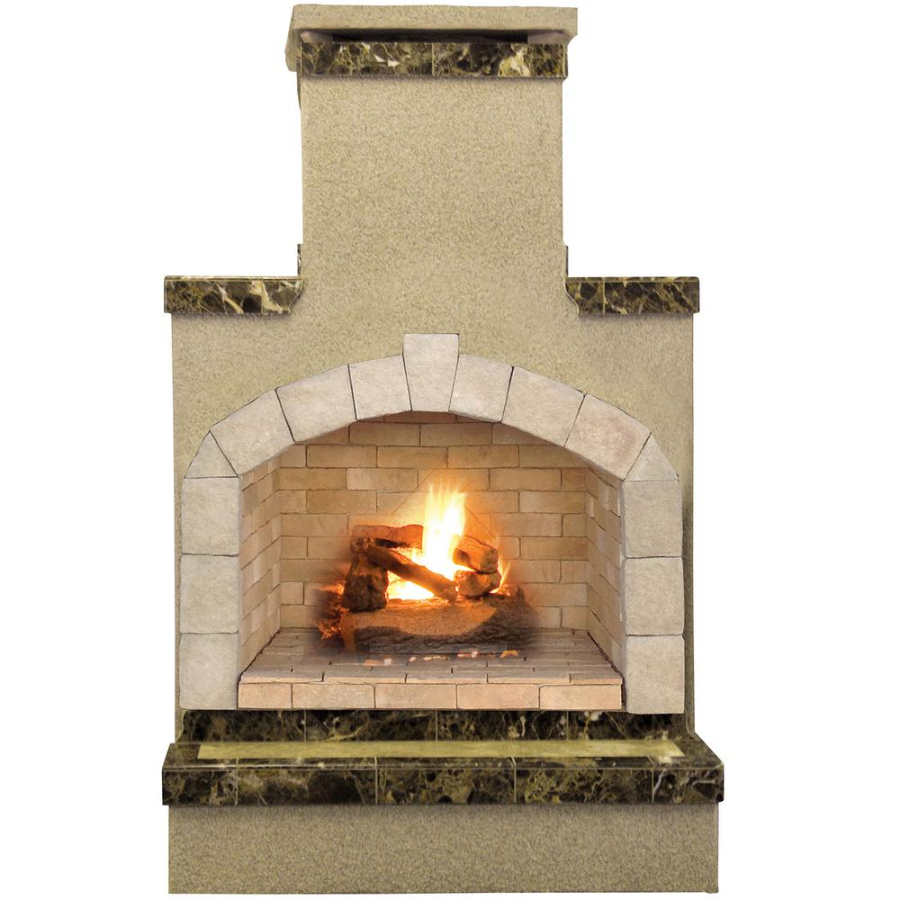 Btu Gas Fireplace Cal Flame 48 In Propane Gas Outdoor Fireplace In Porcelain Tile