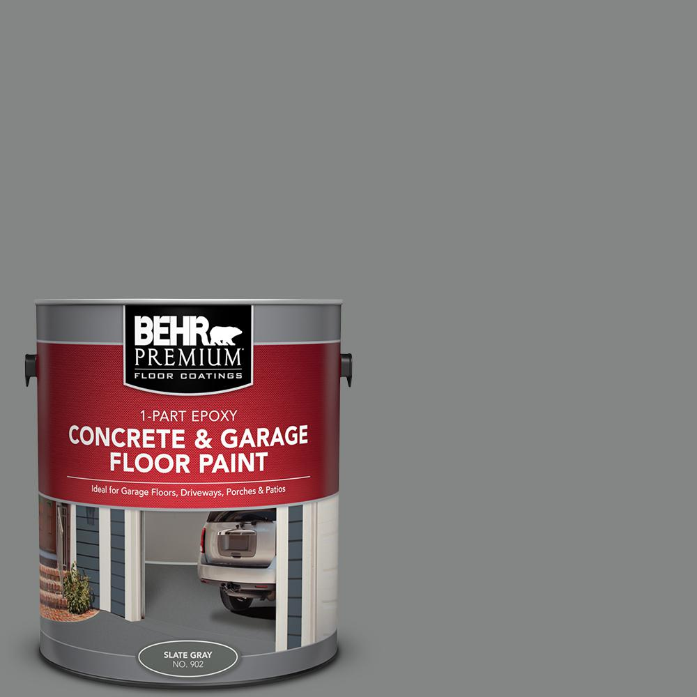 Floor Paint Home Depot Behr Premium 1 Gal 902 Slate Gray 1 Part Epoxy Satin Interior Exterior Concrete And Garage Floor Paint