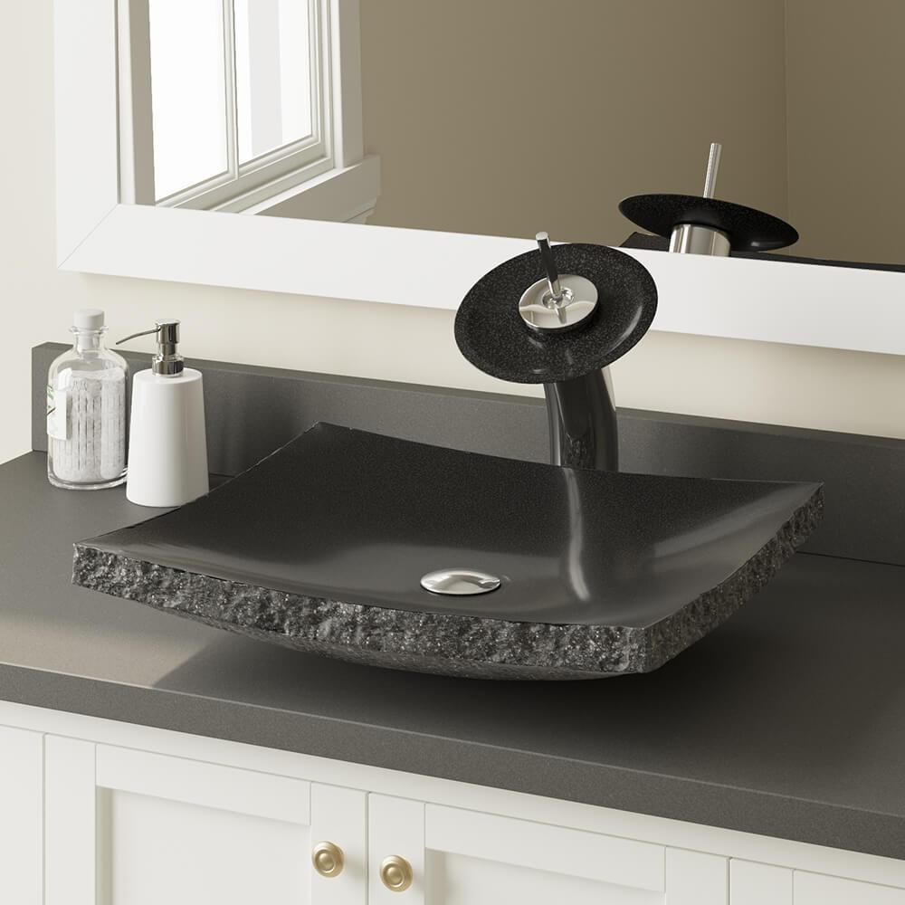 Mr Direct Stone Vessel Sink In Shanxi Black Granite 855 The Home Depot