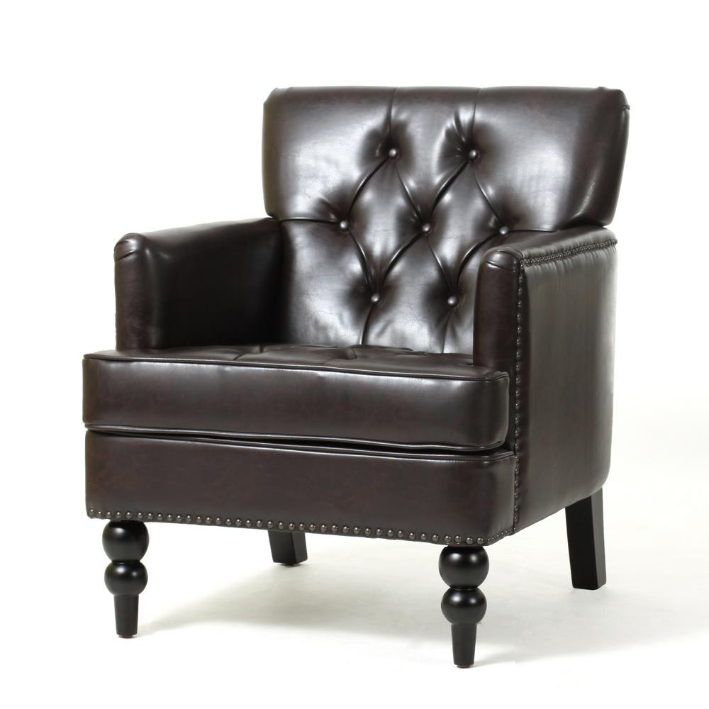 Accent Chairs To Go With Brown Leather Sofa Malone Brown Leather Tufted Club Chair