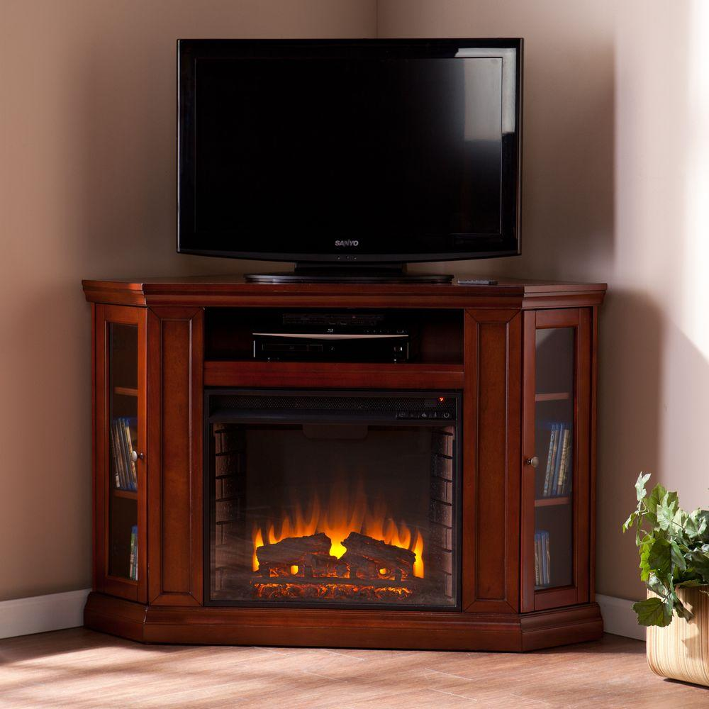 Double Brown Mahogany Sourn Enterprises Carter Convertible Media Electric Fireplace Tv Stand Canada Fireplace Tv Stand Convertible Media Electric Fireplace Tv Stand 60 Inch Tv houzz-02 Corner Fireplace Tv Stand