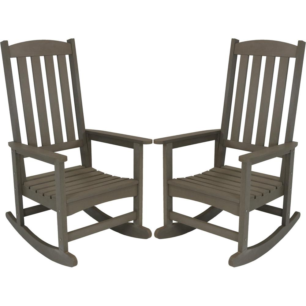 Patio Rocker Chairs Sunnydaze Decor Gray All Weather Traditional Plastic Patio Rocking Chair 2 Set