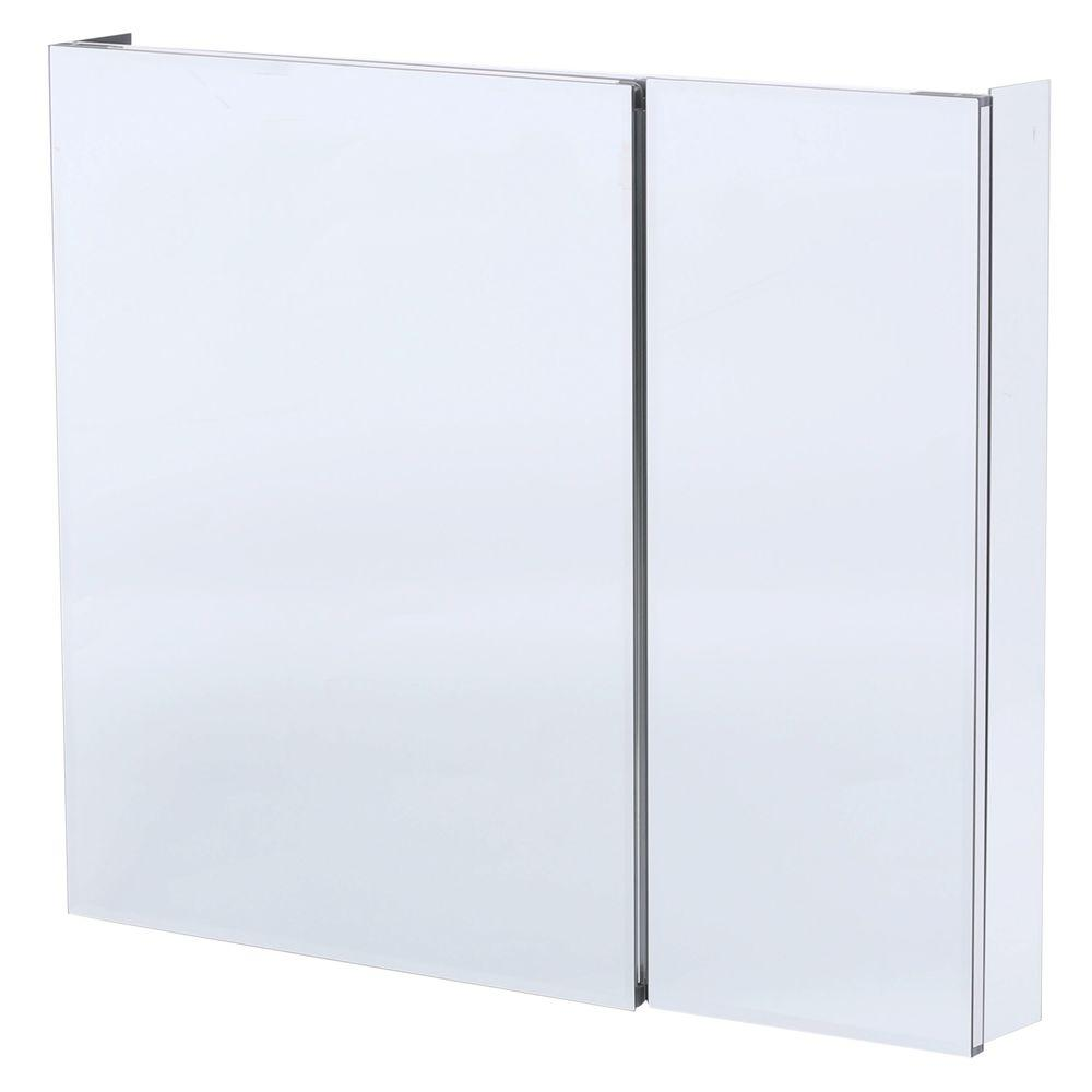 Medicine Cabinet Mirrors Pegasus 36 In W X 30 In H Frameless Recessed Or Surface Mount Bi View Bathroom Medicine Cabinet With Beveled Mirror
