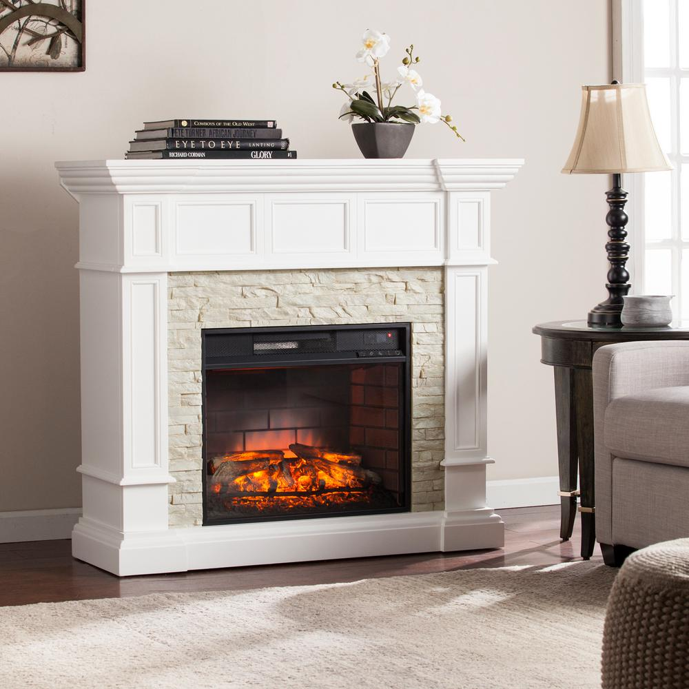 Living Room Electric Fireplace Amesbury 45 5 In W Corner Convertible Infrared Electric Fireplace In White