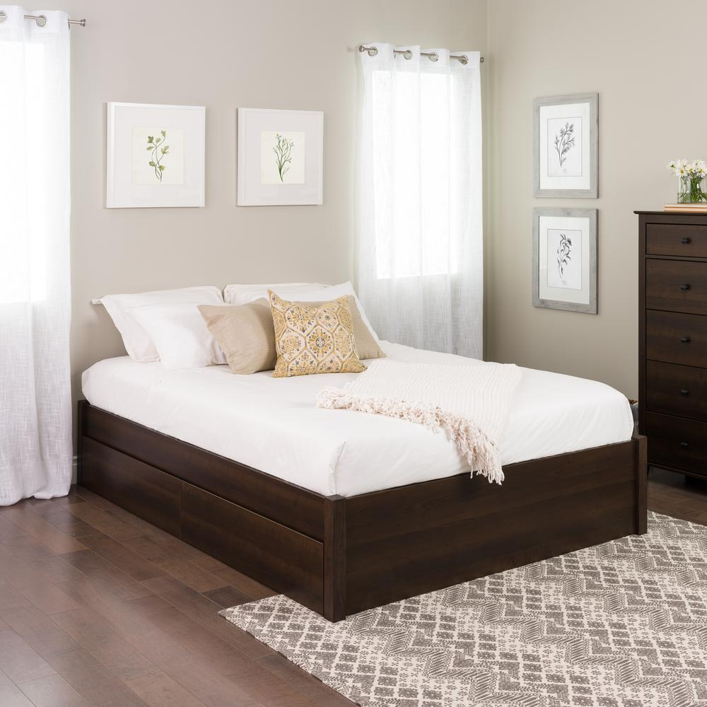 4post Bed Prepac Select Espresso Queen 4 Post Platform Bed With 2 Drawers