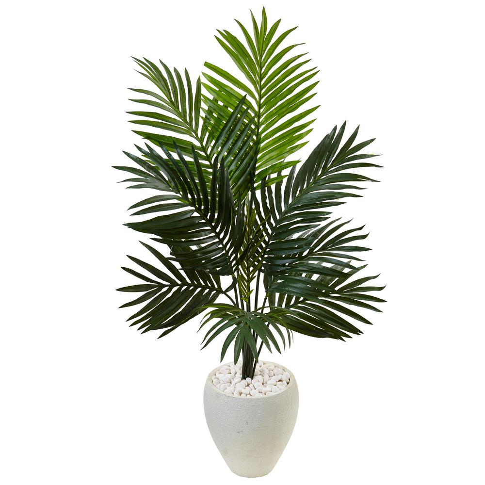 Home Depot Palm Trees Indoor Kentia Palm Artificial Tree In White Oval Planter