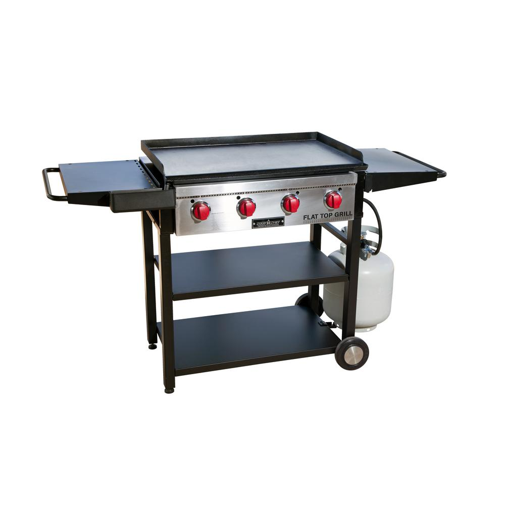Denali Camp Stove Flat Top Grill 4 Burner Propane Gas Grill In Black With Griddle