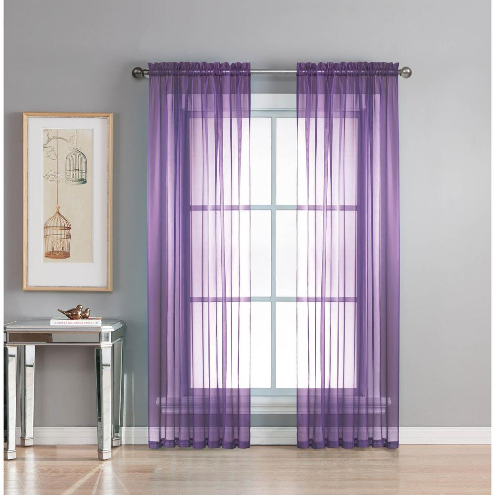 Lavender Sheer Curtains Window Elements Sheer Diamond Sheer 56 In W X 84 In L Rod Pocket Extra Wide Curtain Panel In Purple