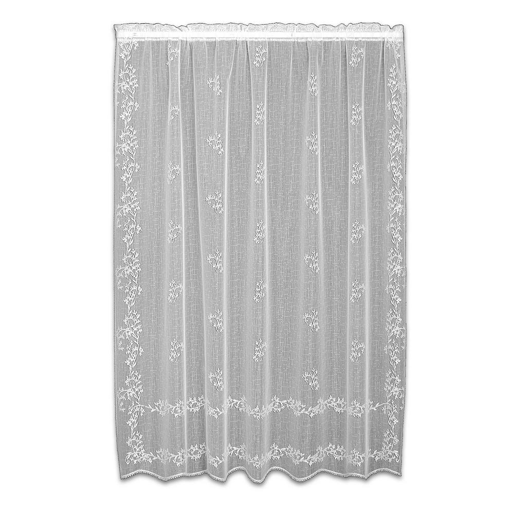 French Lace Curtains Heritage Lace Sheer Divine White Lace Curtain 60 In W X 63 In L