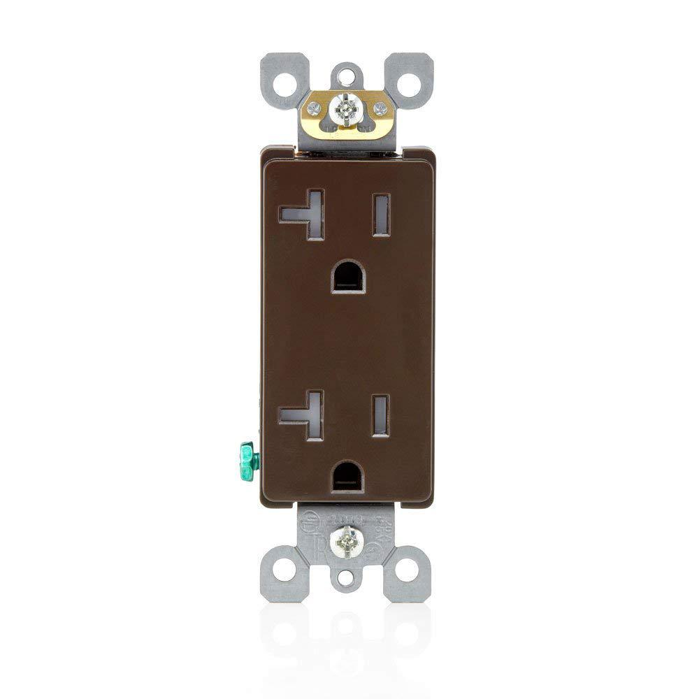 Contemporary Electrical Outlets Leviton Decora 20 Amp Residential Grade Tamper Resistant Self Grounding Duplex Outlet Brown