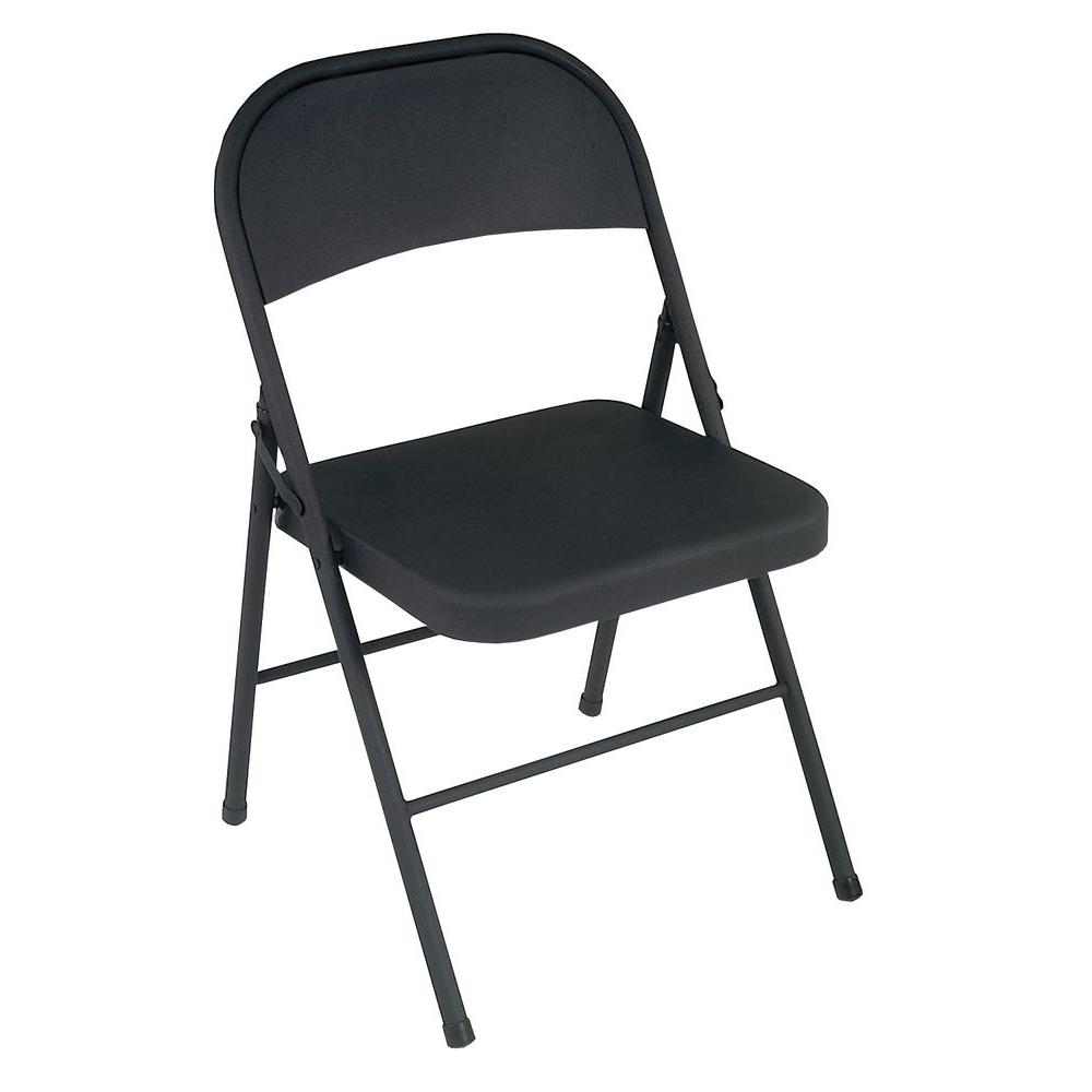 Chairs Folding Cosco Black All Steel Folding Chairs 4 Pack