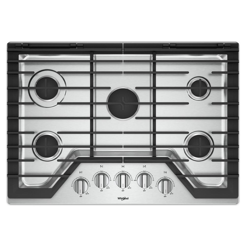 Whirlpool Countertop Stove Whirlpool 30 In Gas Cooktop In Stainless Steel With 5 Burners And Ez 2 Lift Hinged Cast Iron Grates