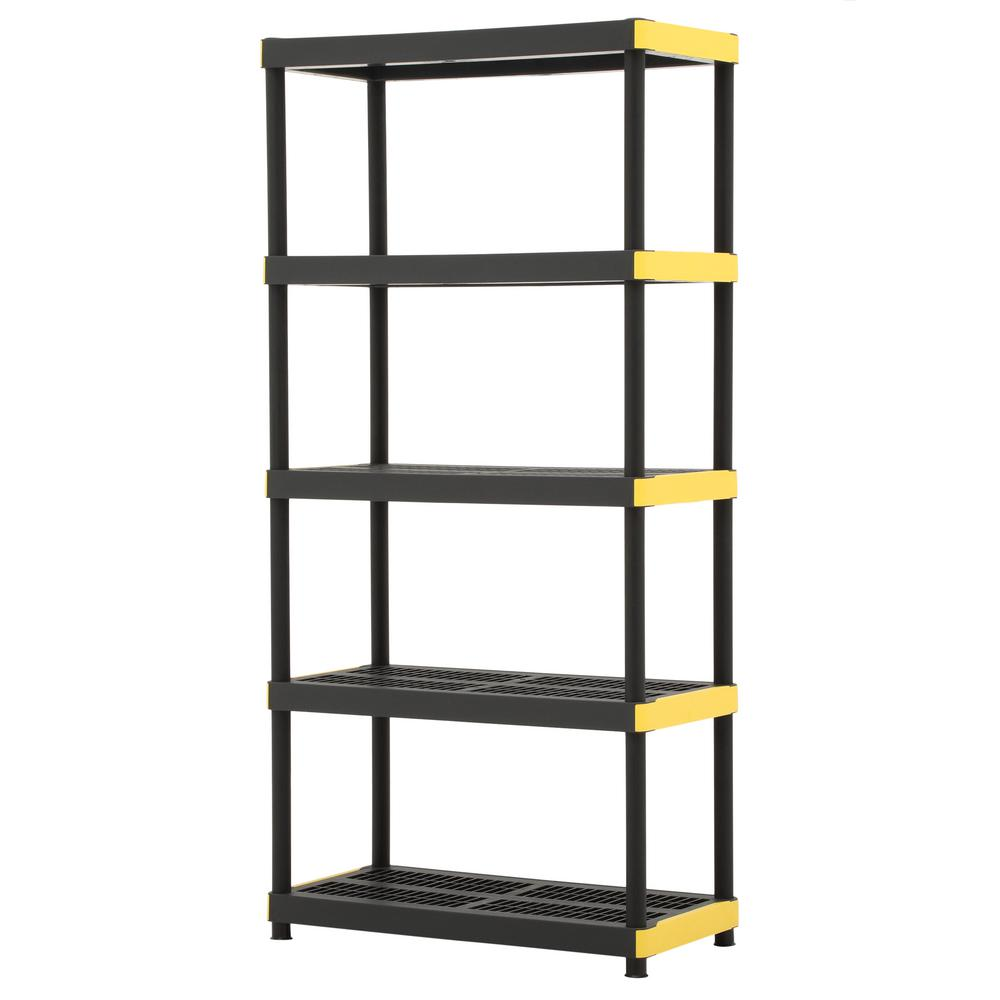 Garage Shelving Units Hdx 18 In X 36 In X 74 In Black And Yellow Plastic Ventilated 5 Tier Garage Shelving Unit