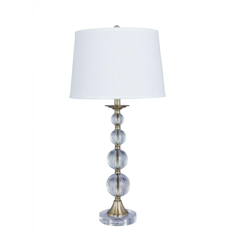 Crystal Lamp Fangio Lighting 30 5 In Antique Brass Crystal And Metal Table Lamp With Crystal Base