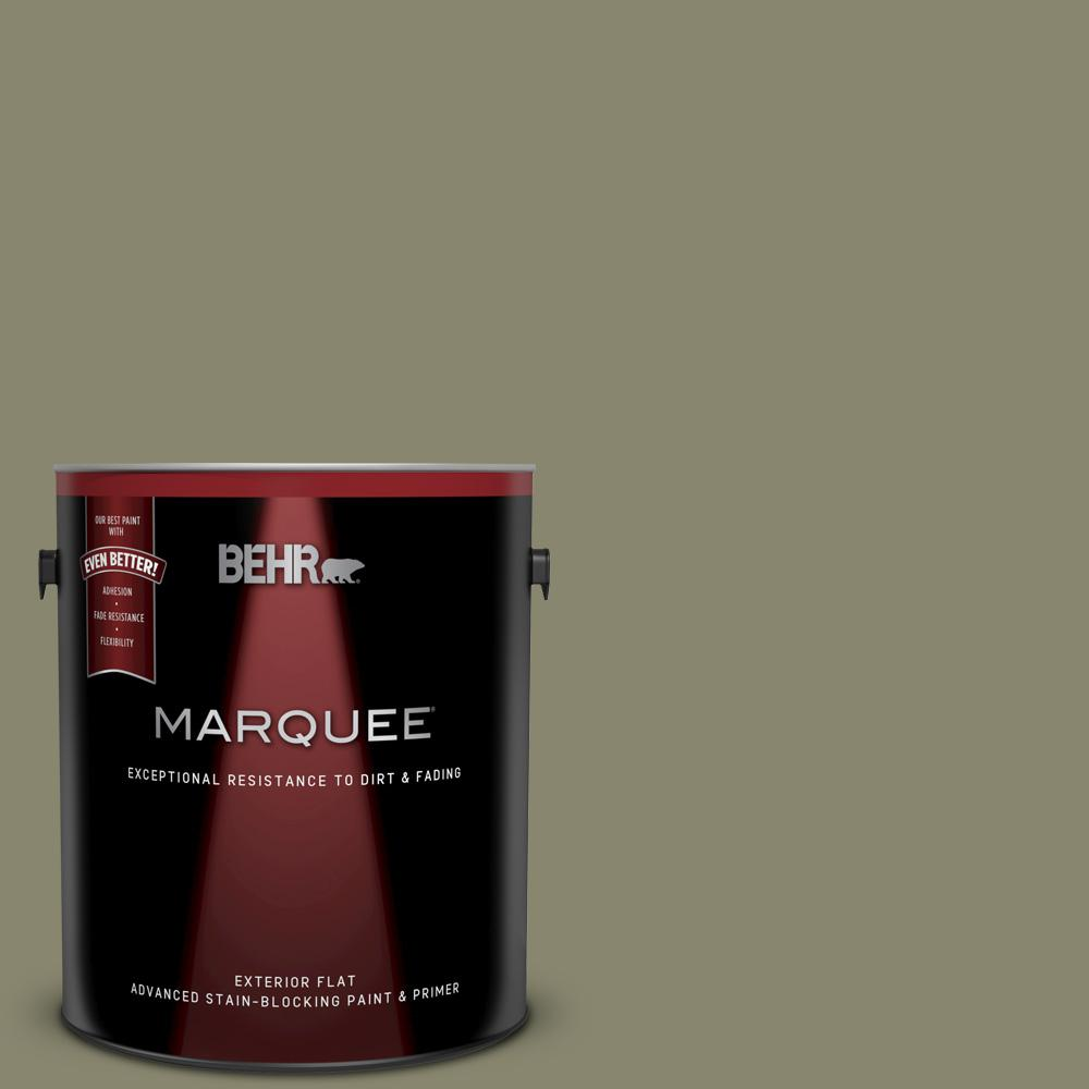 Bank Home Depot Behr Marquee 1 Gal Ppu8 21 Mossy Bank Flat Exterior Paint And Primer In One