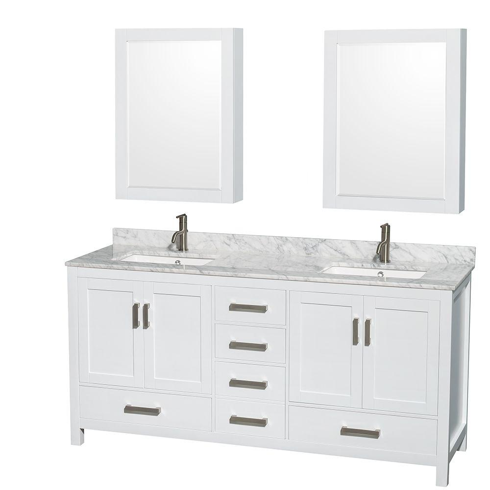 Double Sink Bathroom Vanity With Top Wyndham Collection Sheffield 72 In Double Vanity In White With Marble Vanity Top In Carrara White And Medicine Cabinets