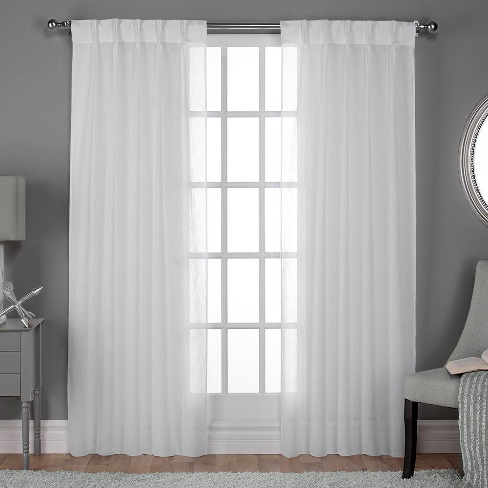 108 Inch Wide Shower Curtain Belgian 30 In W X 108 In L Sheer Pinch Pleat Top Curtain Panel In Winter White 2 Panels