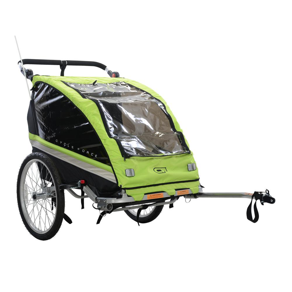 Jogging Stroller How To Use Cycle Force C23 Double Child 3 In 1 Bicycle Trailer Jogger Stroller