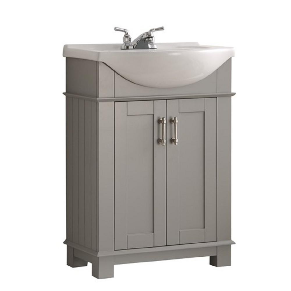 12 Deep Bathroom Vanity Fresca Hudson 24 In W Traditional Bathroom Vanity In Gray With Ceramic Vanity Top In White With White Basin