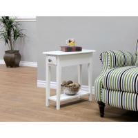 MegaHome White Storage End Table-WH321 - The Home Depot