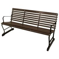 Ivy Terrace 60 in. Black and Mahogany Patio Bench ...