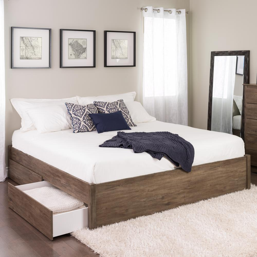 4post Bed Prepac Select Drifted Gray King 4 Post Platform Bed With 4 Drawers