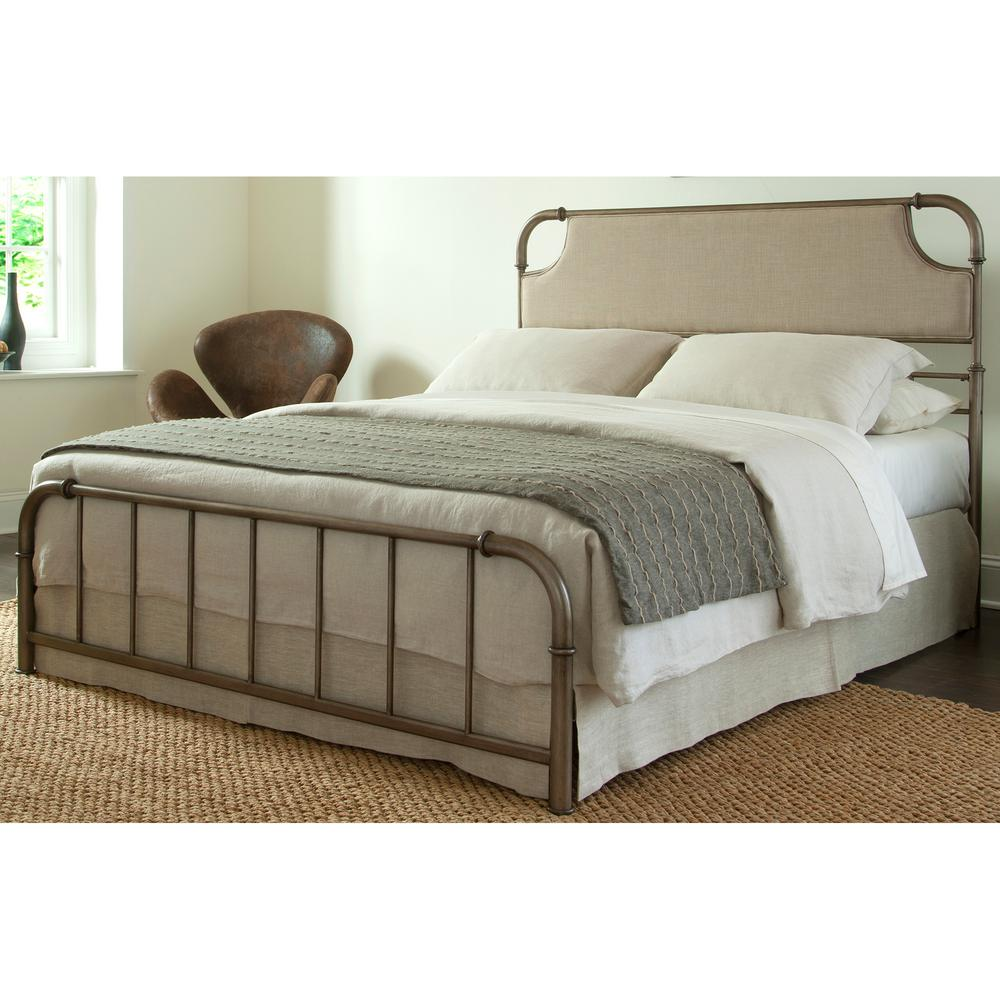 Metal Bed Headboards Fashion Bed Group Dahlia California King Size Snap Bed With Upholstered Headboard And Folding Metal Side Rails In Aged Iron