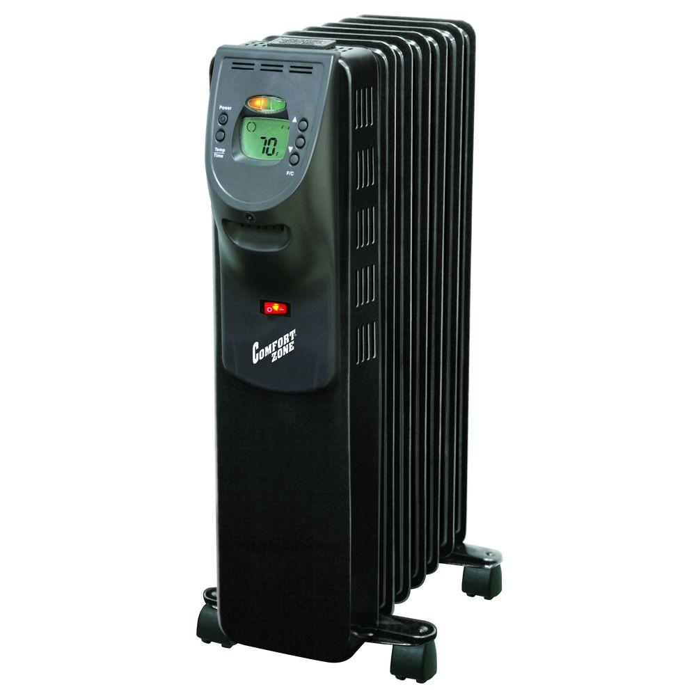 Wattage Radiator Comfort Zone 900 Watt Digital Oil Filled Radiator Portable Heater Electric Black