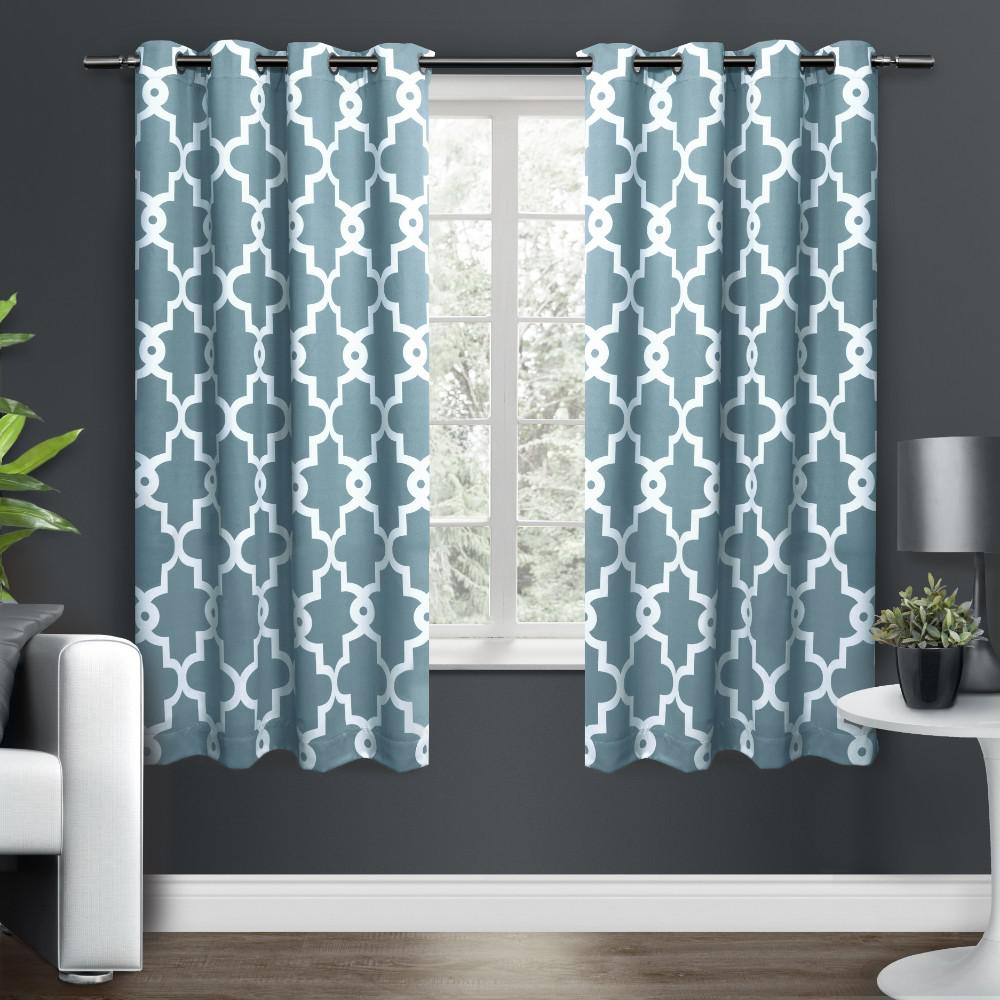 Teal Blackout Curtains Ironwork 52 In W X 63 In L Woven Blackout Grommet Top Curtain Panel In Teal 2 Panels