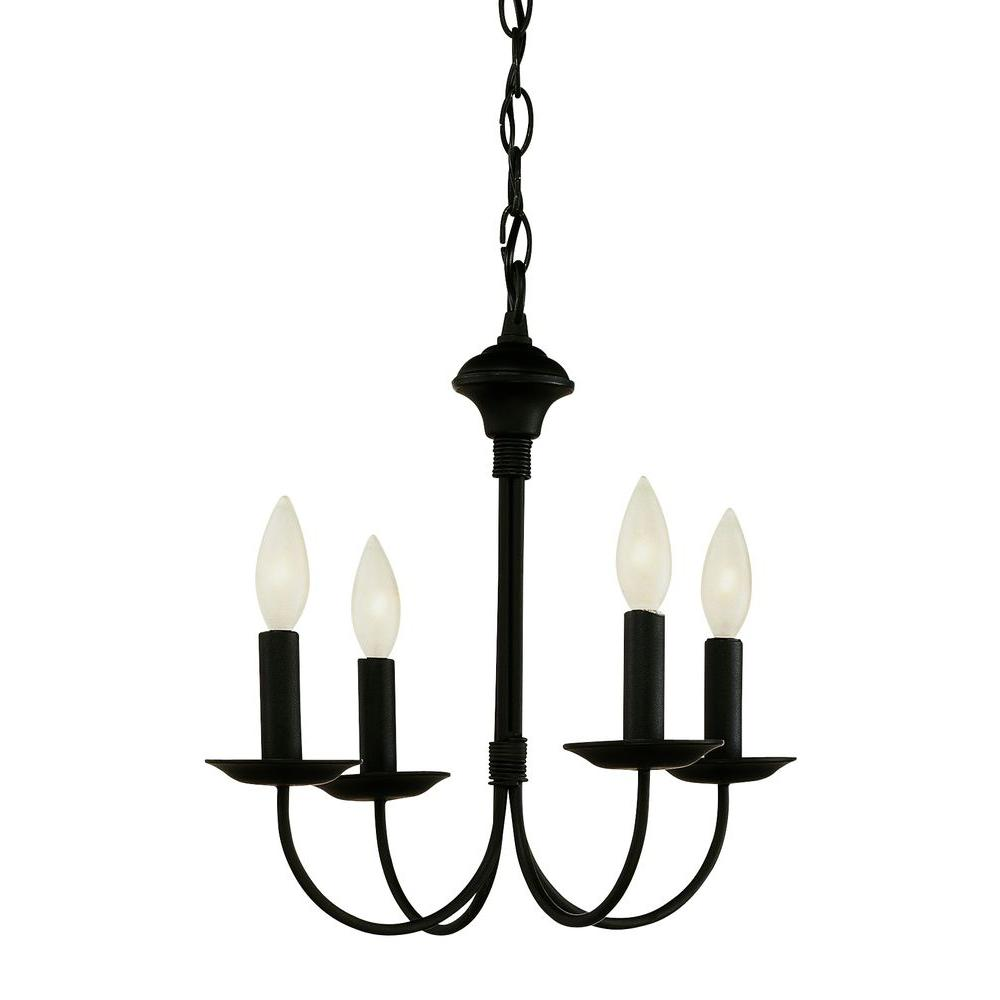 Small Simple Chandelier Bel Air Lighting Cabernet Collection 4 Light Black Chandelier