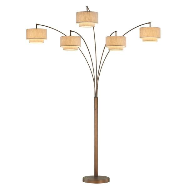 Artiva Lumiere Iii 83 In Antique Brass Double Shade Off