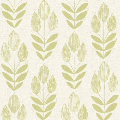 Beacon House Scandinavian Green Block Print Tulip Wallpaper Sample-2535-20649SAM - The Home Depot