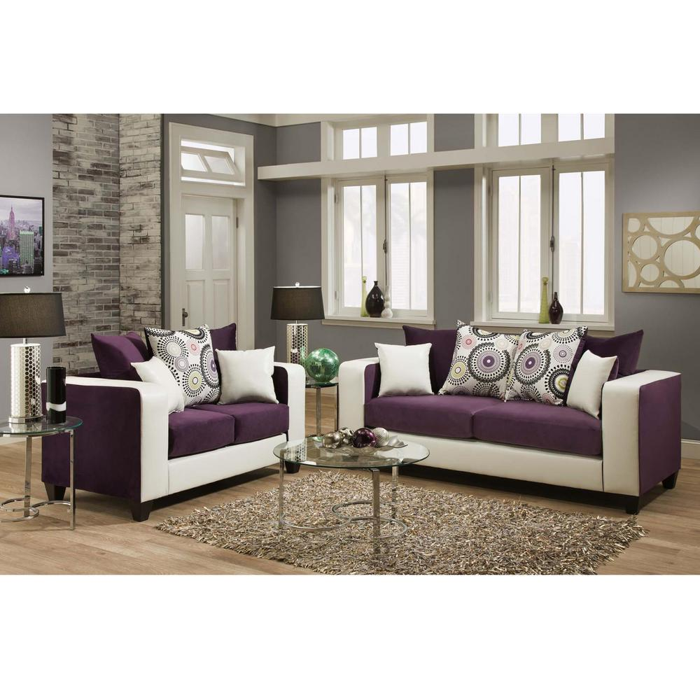 Sofa Sets In Living Room Riverstone Implosion 2 Piece Purple Velvet Living Room Set