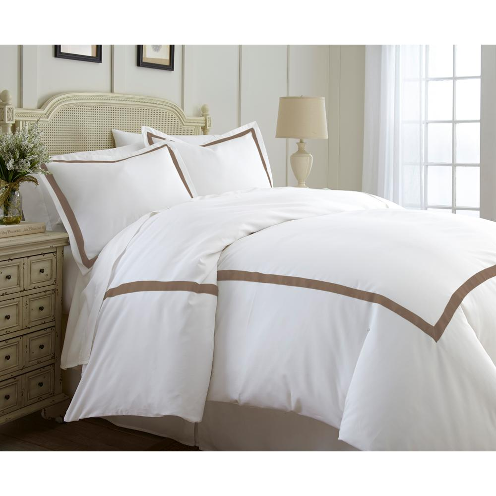 Satin Duvet Cover Amrapur Overseas 600 Thread Count 3 Piece Satin Ribbon Mocha King Duvet Set