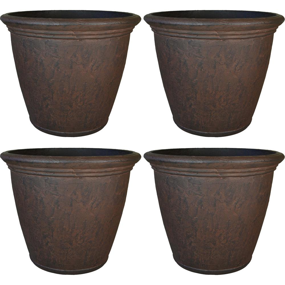 Unique Outdoor Flower Pots Sunnydaze Decor Anjelica 16 In Rust Poly Outdoor Flower Pot Planter 4 Pack