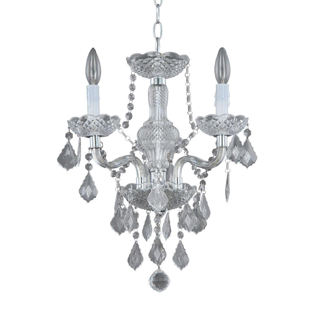 Small Simple Chandelier Hampton Bay Maria Theresa 3 Light Chrome And Clear Acrylic Mini Chandelier