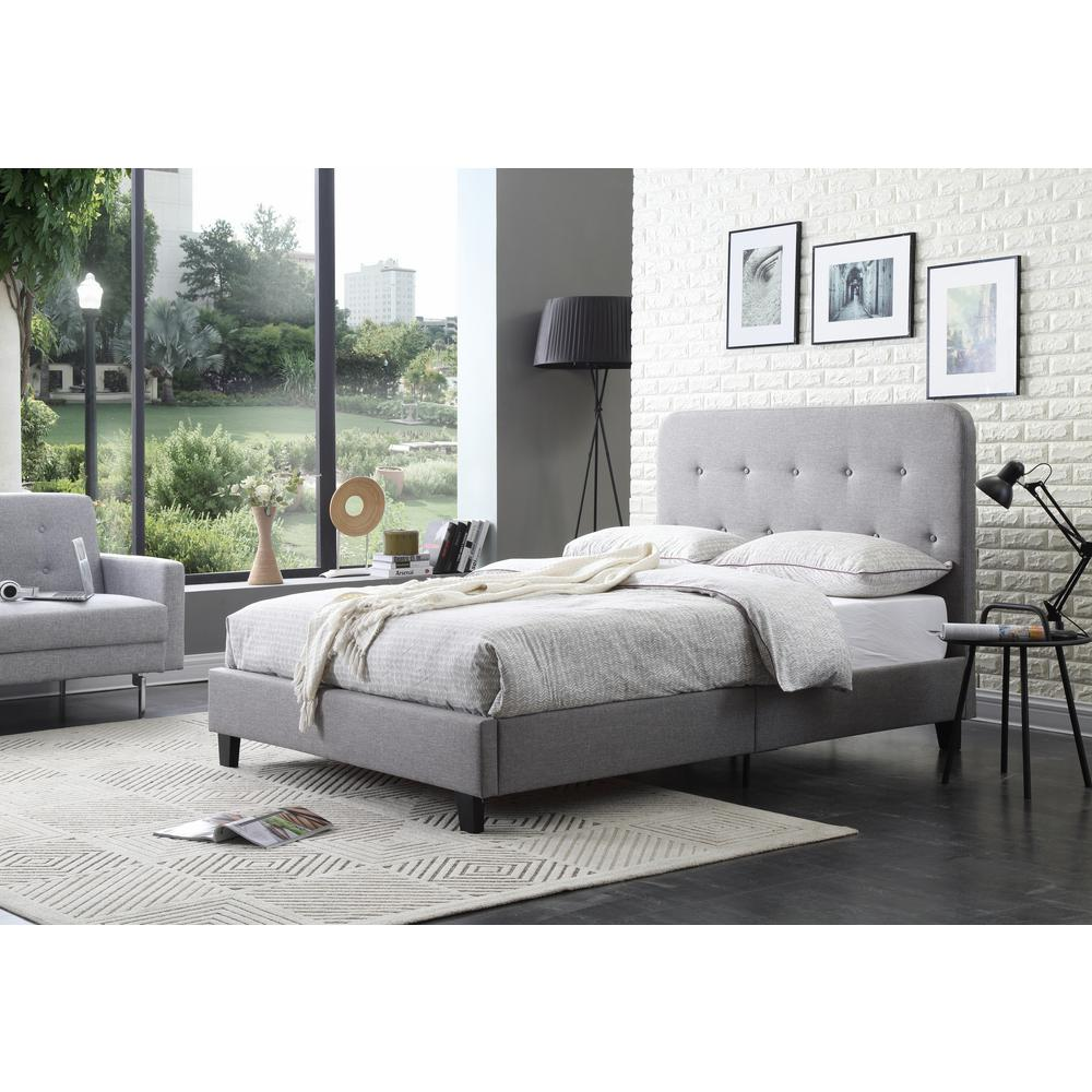 Bed Headboard Gray Full Size Upholstered Panel Bed With Tufted Headboard