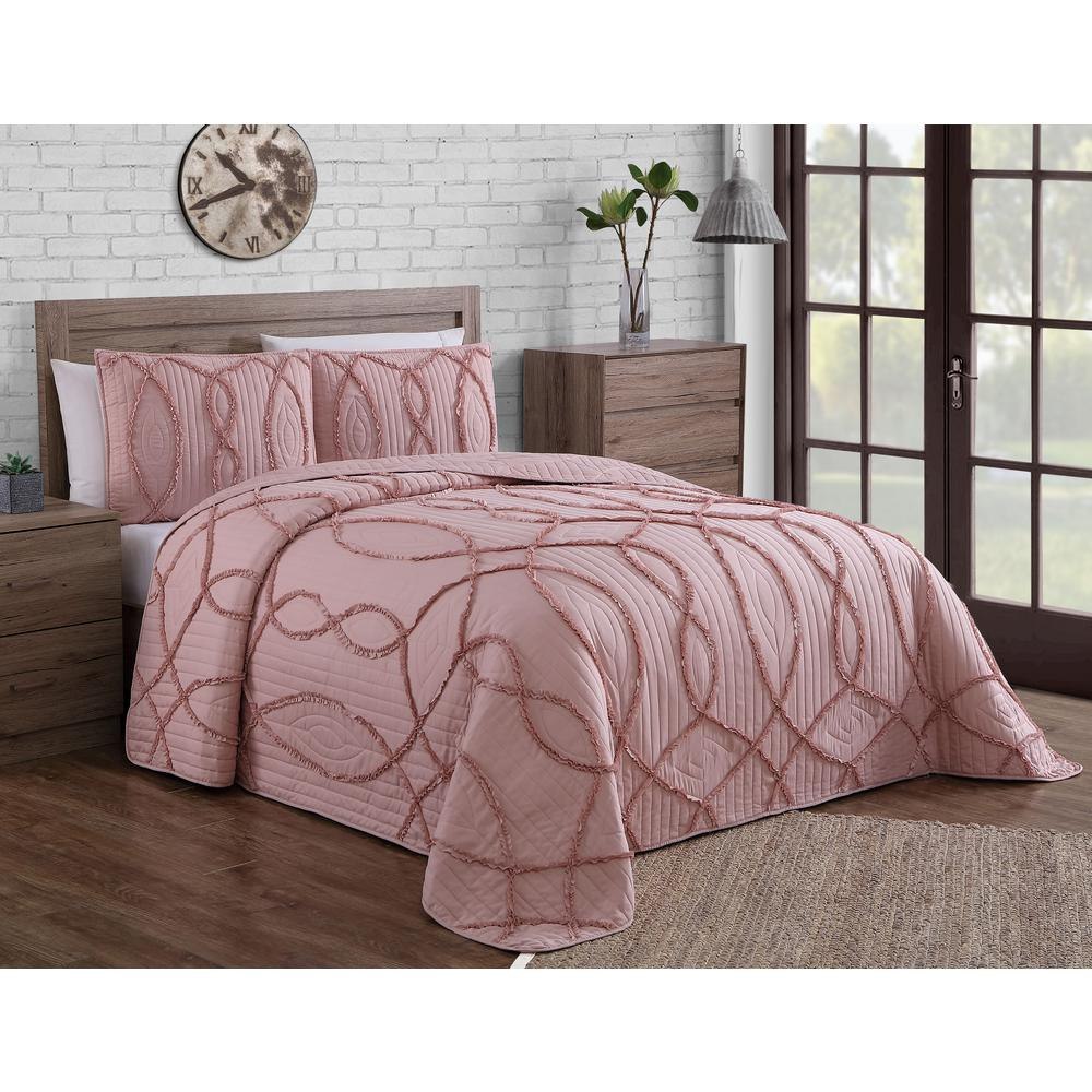 Blush Pink Quilt Cover Sonora Ruffle Blush Queen Quilt Set 3 Piece