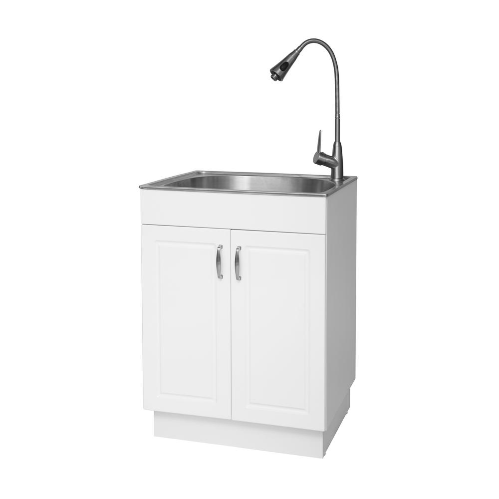 Garage Utility Sink Details About All In One Garage Stainless Steel Laundry Utility Sink With Storage Faucet New