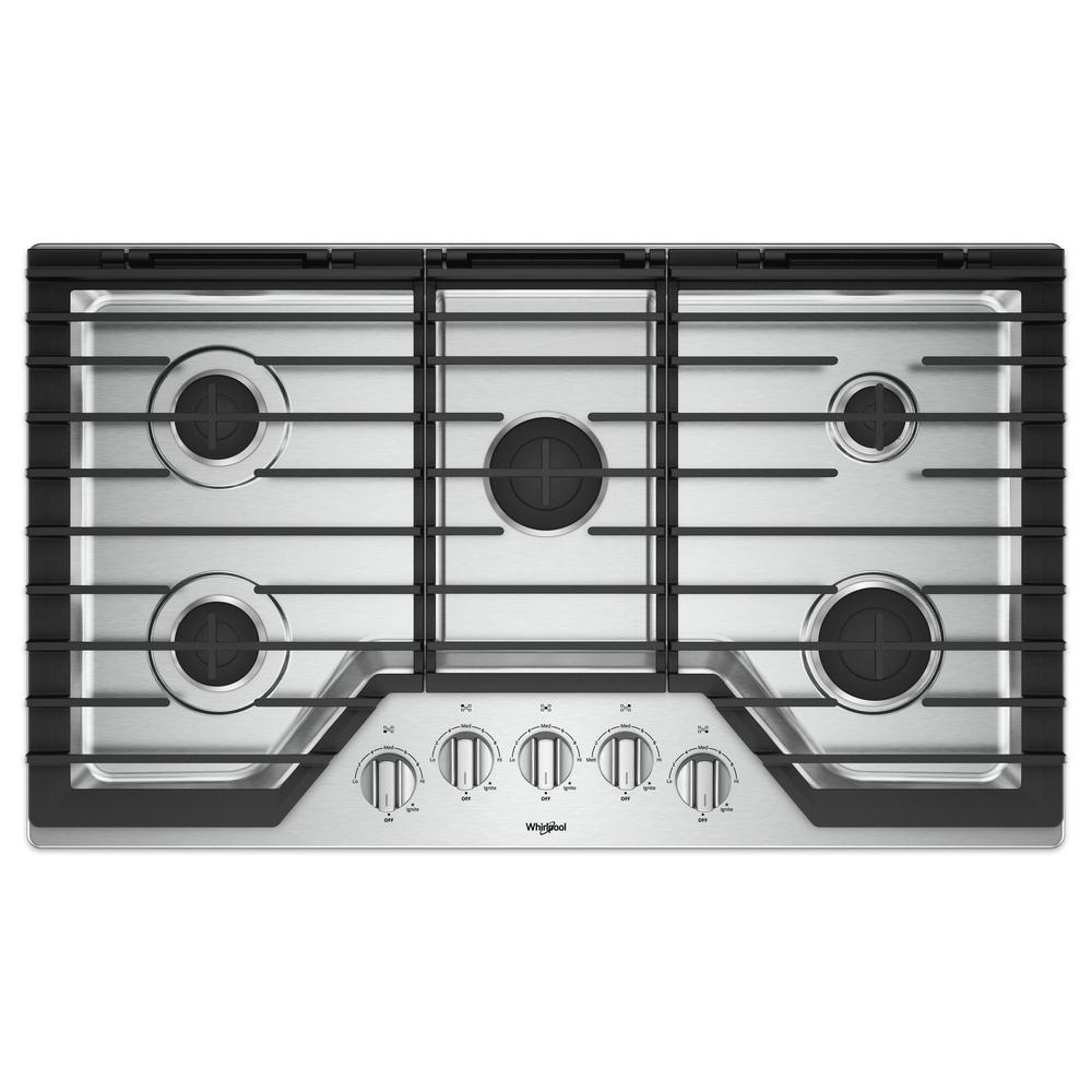 Whirlpool Countertop Stove Whirlpool 36 In Gas Cooktop In Stainless Steel With 5 Burners And Ez 2 Lift Hinged Cast Iron Grates