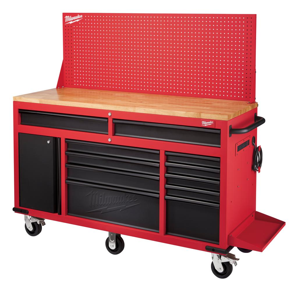 Maximum Heavy Duty Workbench Milwaukee 61 In 11 Drawer 1 Door 22 In D Mobile Workbench With Sliding Pegboard Back Wall In Red Black
