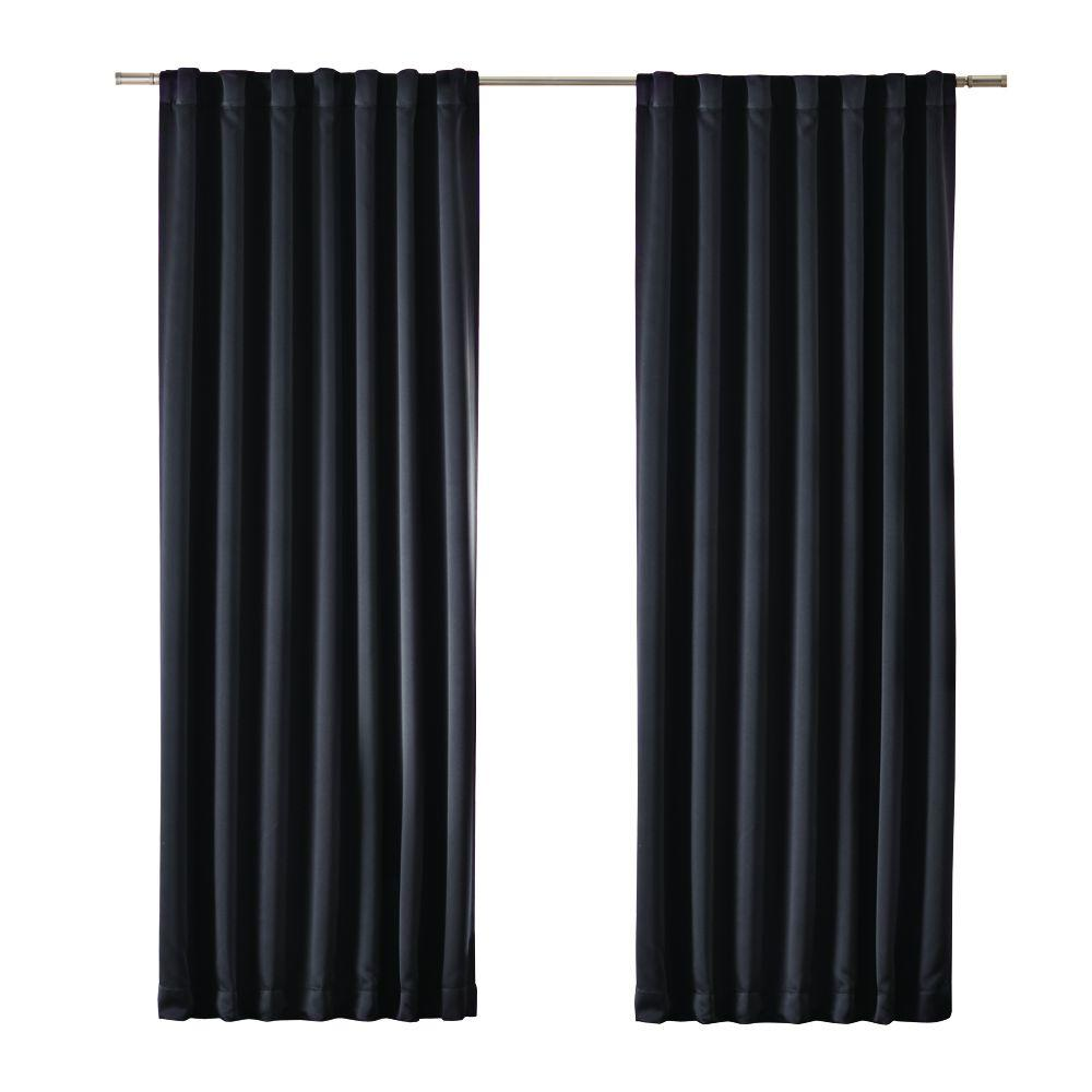 Dark Red Blackout Curtains Home Decorators Collection Media Blackout Window Panel In Black 54 In W X 84 In L
