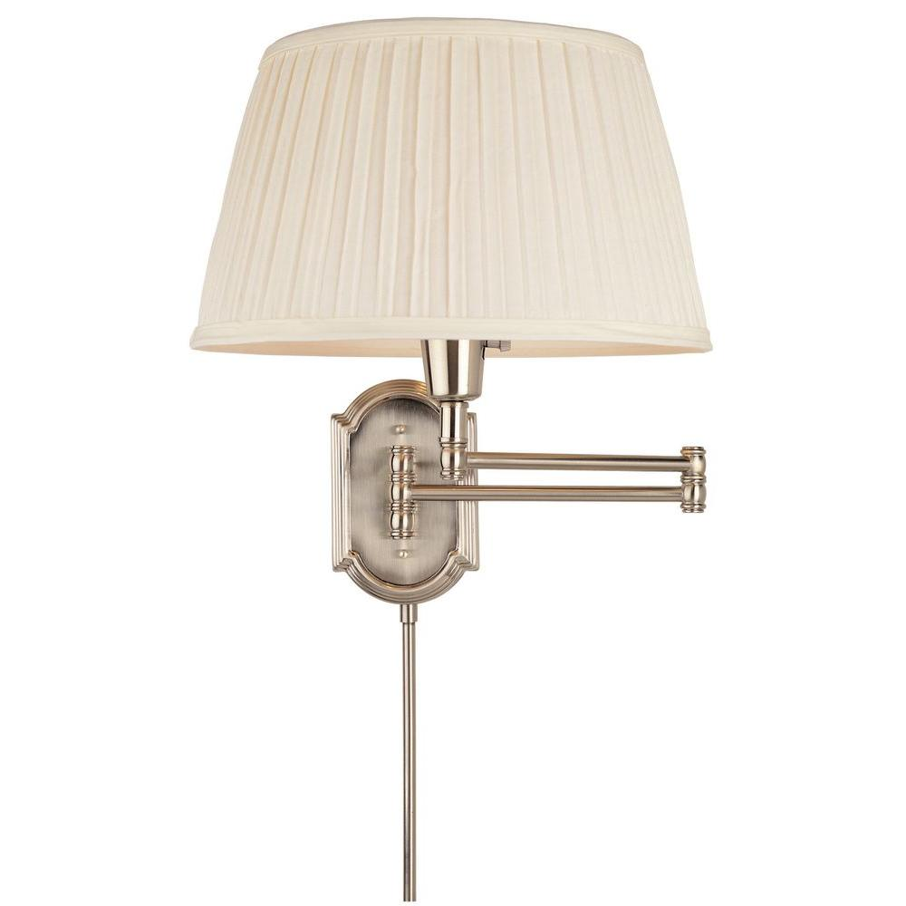 Arm Lamp Hampton Bay 1 Light Brushed Nickel Swing Arm Wall Lamp With White Pleated Fabric Shade