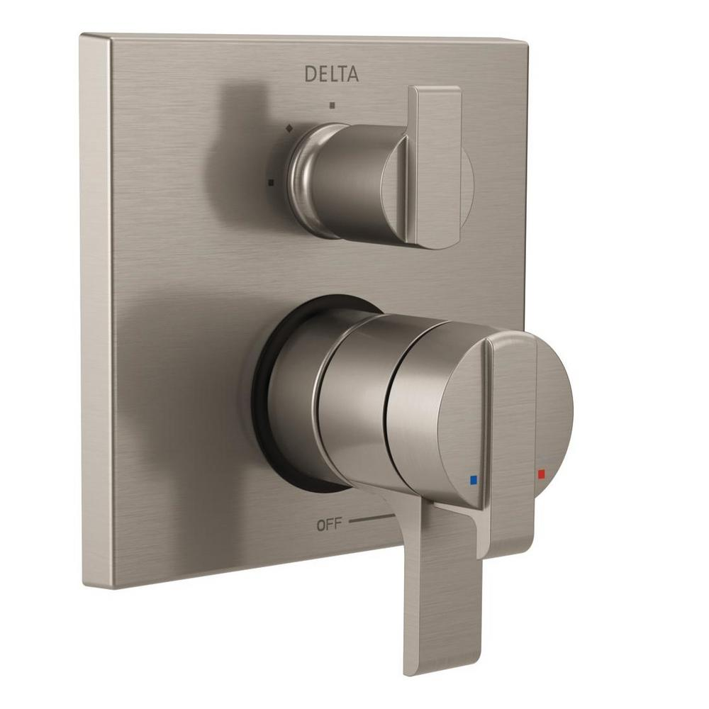 Delta Shower Diverter Delta Ara Modern 2 Handle Wall Mount Valve Trim Kit With 3 Setting Integrated Diverter In Stainless Valve Not Included
